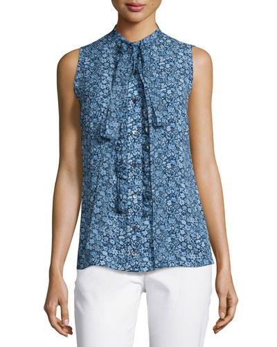 Floral-Print Chiffon Tie-Neck Blouse, Blue