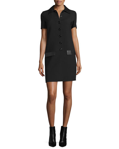 Short-Sleeve Leather-Trim Shirtdress, Black