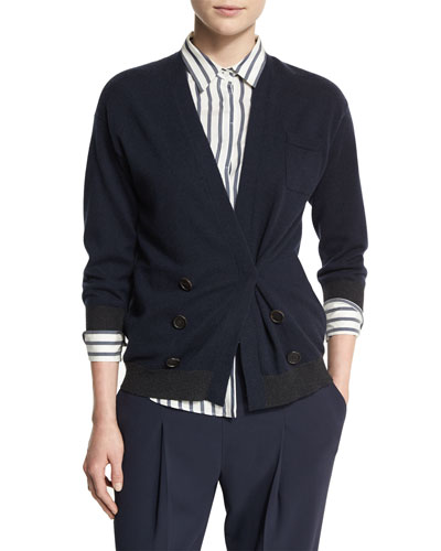 Bicolor Double-Breasted Cashmere Cardigan, Navy