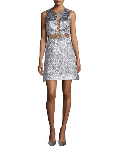Sleeveless Brocade Dress w/Rings, Silver