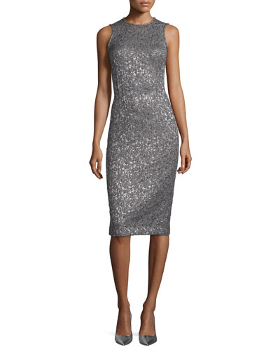 Sleeveless Metallic Jacquard Sheath Dress, Silver