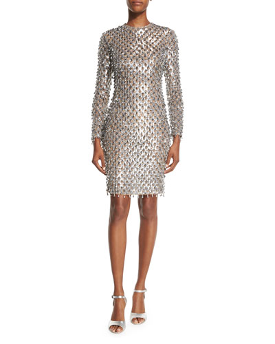 Dangling Metallic Long-Sleeve Dress, Silver