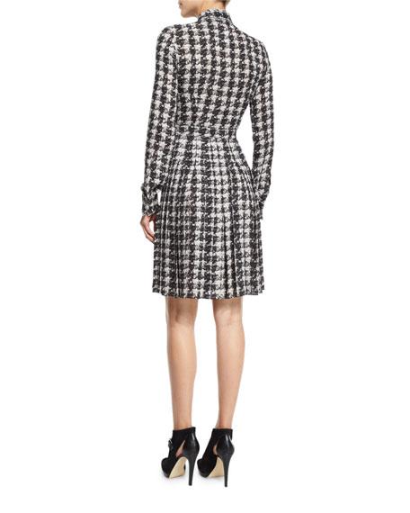 Houndstooth-Print Silk Georgette Shirtdress, Gray