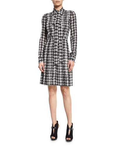 Houndstooth-Print Silk Georgette Shirtdress, Gray