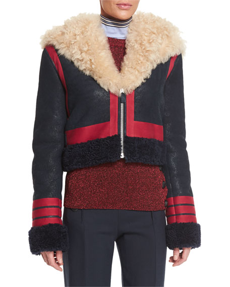 Shearling Fur-Trimmed Leather Jacket, Red/Navy