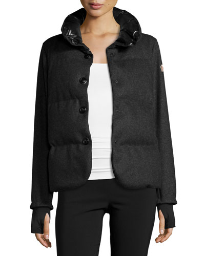 Wool-Blend Button-Front Jacket, Charcoal