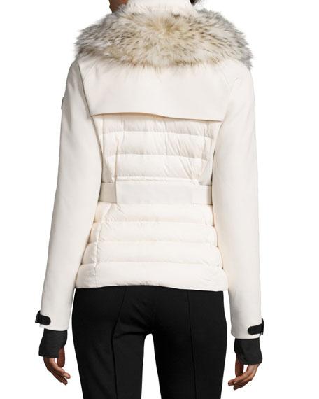 Quilted Ski Jacket w/Fur Hood, Cream