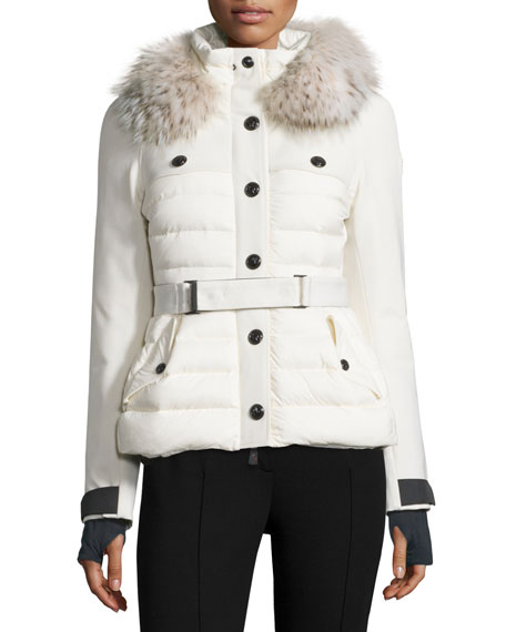 Quilted Ski Jacket w/Fur Hood, Cream
