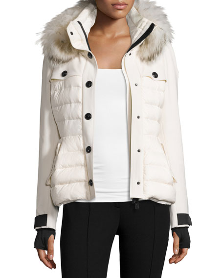 Moncler Quilted Ski Jacket w/Fur Hood, Cream