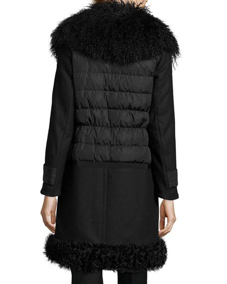 Quilted Combo Coat w/Fur Trim, Black