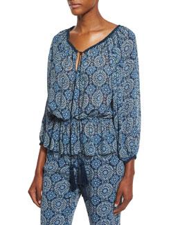 Printed Silk Tassel-Tie Top, Blue