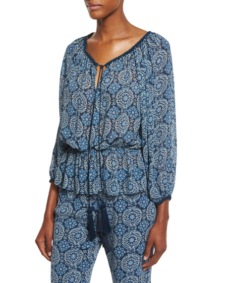 Printed Silk Tassel-Tie Top, Blue