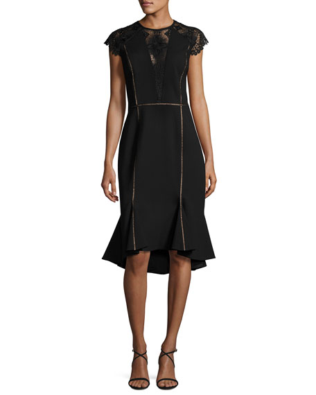 Catherine Deane Cap-Sleeve Flounce-Hem Dress, Black