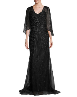 Beaded Dolman-Sleeve Wrap Gown, Black/Gold