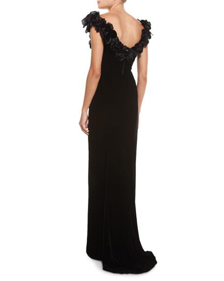 9c3c6270 Marchesa Off-Shoulder Velvet Gown w/Floral Appliques, Black