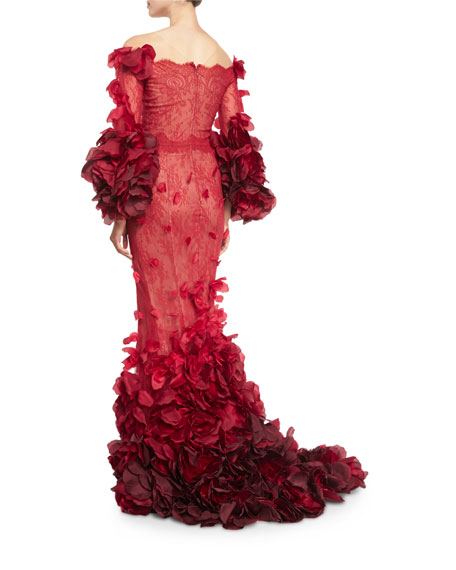 Ombre Chantilly Lace Petal-Trim Gown, Red