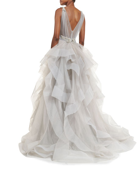 Sleeveless Ruffled Tulle Ball Gown, Gray