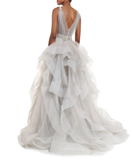 Sleeveless Ruffled Tulle Ball Gown, Gray
