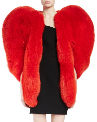 Fox Fur Heart Cape, Red