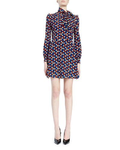 Polka Dot Tie-Neck Dress, Blue/Red
