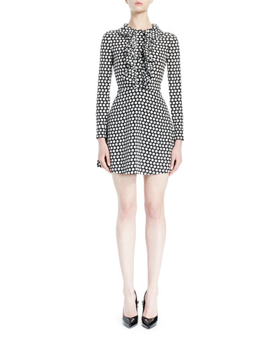 Polka Dot Ruffle-Front Dress, Black/White