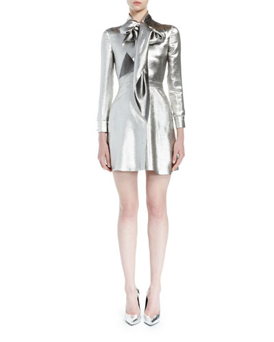 Silk Lamé Tie-Neck Mini Dress, Silver