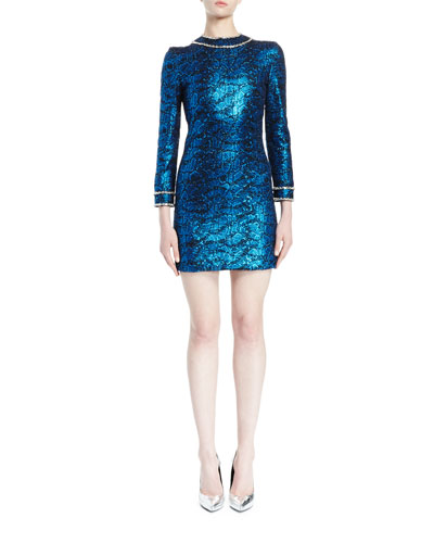 Metallic Snake-Print Mini Dress, Blue