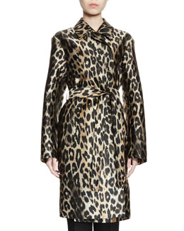 Reeds Leopard-Print Jacquard Trenchcoat, Natural