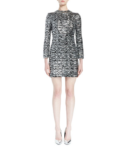 Sequined Tiger-Print Mini Dress, Silver