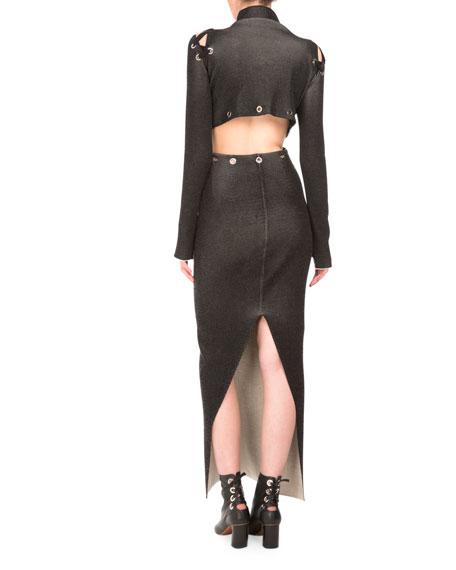 Stitched Mock-Neck Long-Sleeve Maxi Dress, Black
