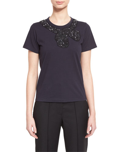 Sequined Bow-Embellished Tee, Navy