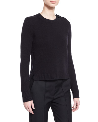 Button-Shoulder Cashmere Sweater, Black