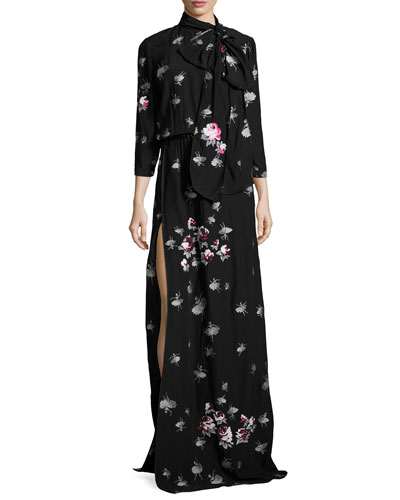 3/4-Sleeve Floral Tie-Neck Gown, Black