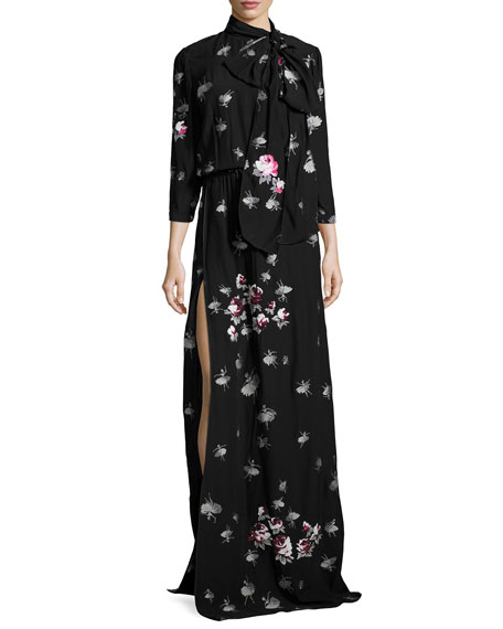 Marc Jacobs 3/4-Sleeve Floral Tie-Neck Gown, Black