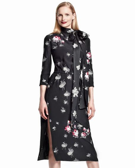 Floral-Print Tie-Neck Midi Dress, Black