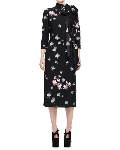 Floral-Print Tie-Neck Midi Dress, Black