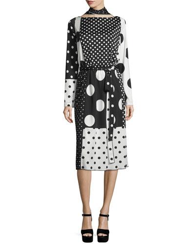 Mixed-Polka Dot Tie-Neck Dress, Black