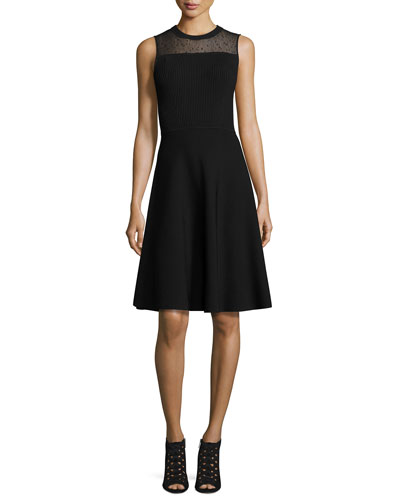 Sleeveless Sheer-Yoke Day Dress, Black