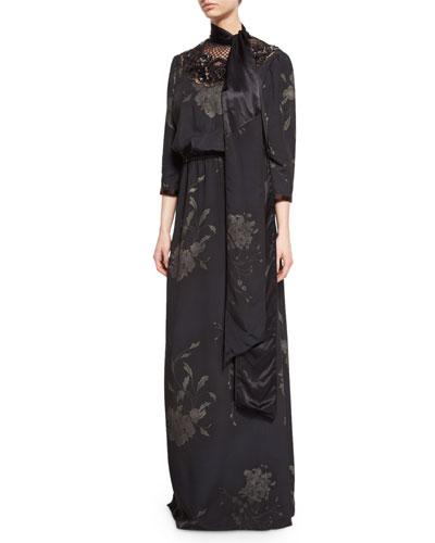 Floral-Print Lace-Yoke Tie-Neck Gown, Black