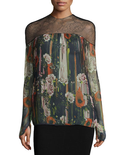 Floral Lace-Yoke Chiffon Blouse, Black/Multi
