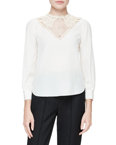 Lace-Trim Sheer Silk Blouse, White