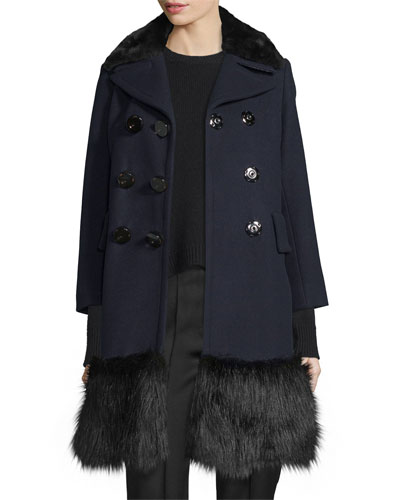 Pea Coat w/Faux-Fur Trim, Navy