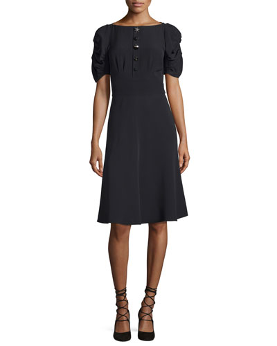 Puff-Sleeve Button-Front Crepe Dress, Black