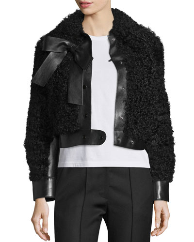 Shearling Fur & Leather Bow Jacket, Black