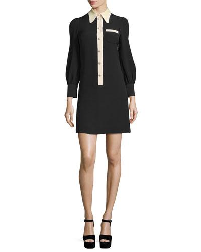 Long-Sleeve Silk Crepe Shirtdress, Black