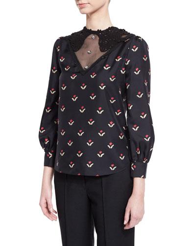 Printed Lace-Yoke Silk Blouse, Black