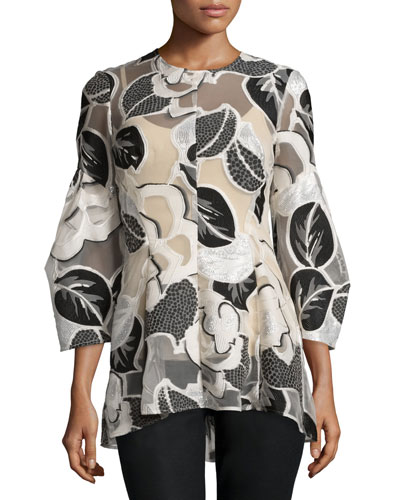 Linear Leaf Fil Coupe Elbow-Sleeve Top, Ivory/Multi
