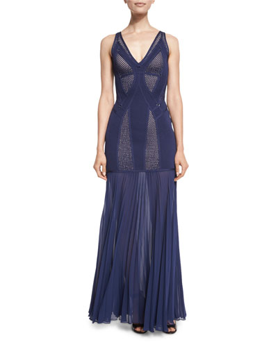 Sleeveless Gown with Pleated Chiffon Skirt, Navy