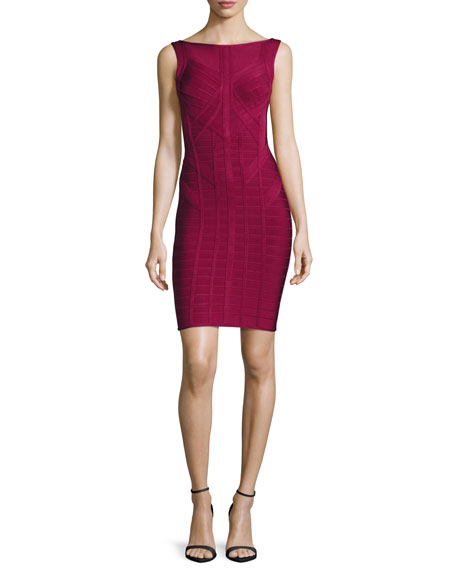 Bandage-Knit Scoop-Back Dress, Burgundy