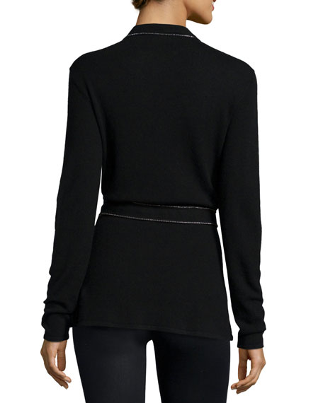 Cashmere Cardigan w/Embellished Trim, Black